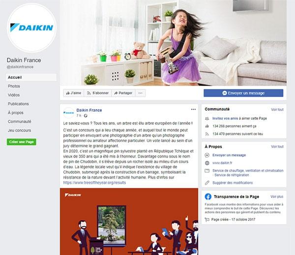 page-facebook-daikin-genie-climatique
